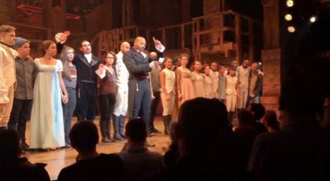 "In this image made from a video provided by Hamilton LLC, actor Brandon Victor Dixon who plays Aaron Burr, the nationís third vice president, in ""Hamilton"" speaks from the stage after the curtain call in New York, Friday, Nov. 18, 2016. Vice President-elect Mike Pence is the latest celebrity to attend the Broadway hit ""Hamilton,"" but the first to get a sharp message from a cast member from the stage. (Hamilton LLC via AP)"