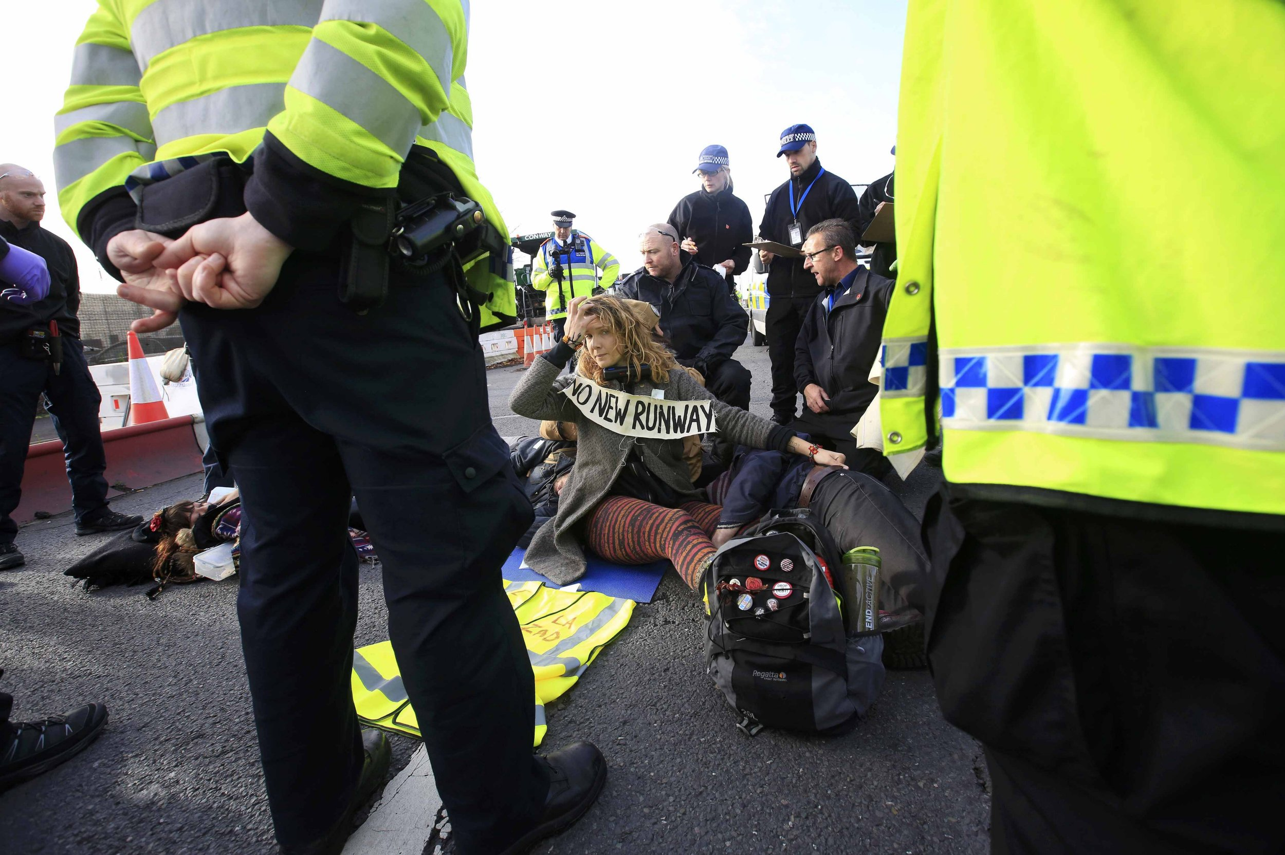 Environmental protesters block a road during a protest near Heathrow airport in west London, Britain November 19, 2016. REUTERS/Paul Hackett