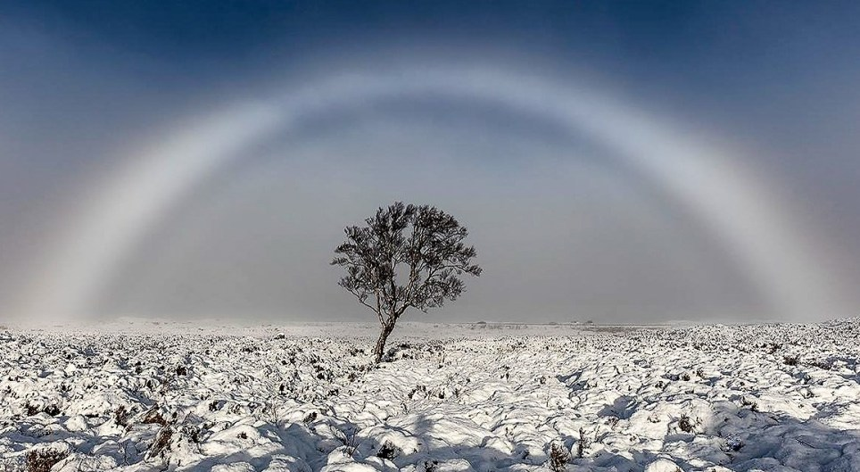"Picture supplied by Melvin Nicholson/Bav Media 07976 880732. *****HIGHER RES VERSION WILL BE SENT LATE MONDAY AFTERNOON****** A photographer has taken a picture of a beautiful WHITE rainbow in the Scottish mountains. Melvin Nicholson captured a stunning photo of a rare FOG BOW on Rannoch Moor whilst out walking on Sunday November 20th. A fog bow is a colourless rainbow made up of tiny water droplets that cause fog. Due to the small size of the water droplets it has very weak colours, with a red outer edge and bluish inner edge. Melvin said: ""I have never seen a fog bow before and understand that it is very rare. ""It was an amazing thing to witness and can generally only be seen if the sun is behind you when you are looking at it. SEE COPY CATCHLINE Rare WHITE rainbow photo"
