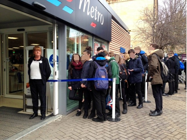 Boroughmuir pupils queue outside the store A UNIVERSITY professor claims Tesco are discriminating against state school kids by making them queue outside - while private school pupils walk right in. Prof Neil Pollock claimed his son and other pupils at the council school in Edinburgh are forced to stand behind a barrier and admitted in small groups. But the academic alleges that children from £11,577-a-year George Watson's College, easily identifiable by their maroon blazers, are allowed straight in to the Bruntsfield Metro store. Professor Pollock, head of innovation and social informatics at Edinburgh University, sends his son to Boroughmuir High, the Scottish state school of the year in 2012. The 49-year-old last week posted a series of tweets complaining about alleged discrimination by Tesco.