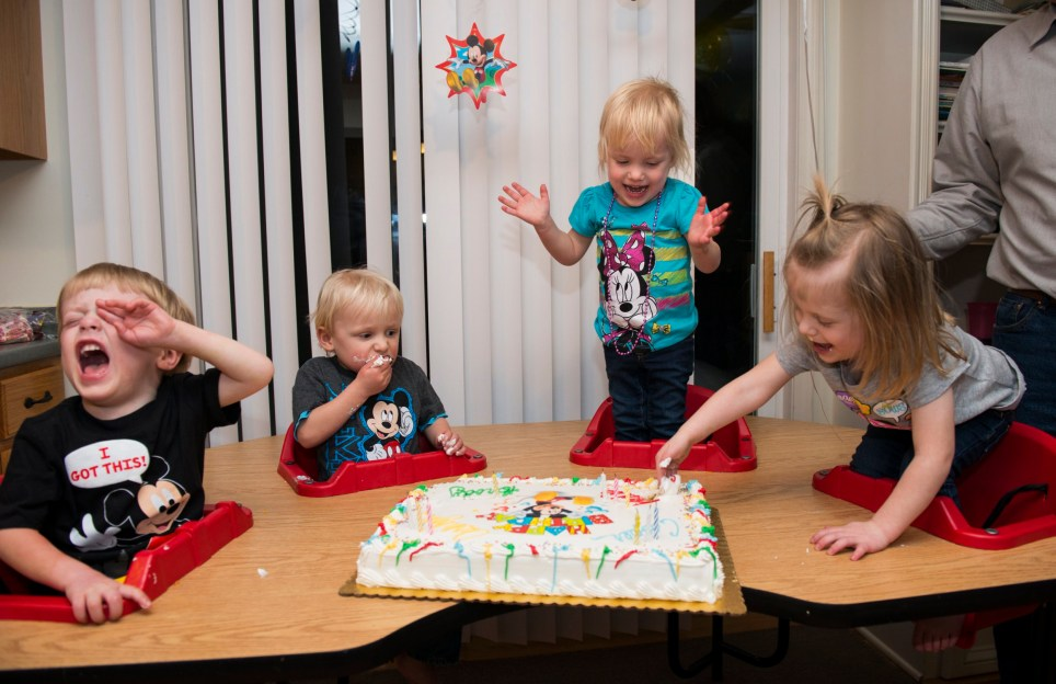 Chaos reigns as Brody, Cooper, Ashlyn, and Kylie Larson celebrate their third birthday during a party on March 6, 2015. Their actual birthday was on March 12 but the family celebrated earlier so more family members and friends could join in the festivities.