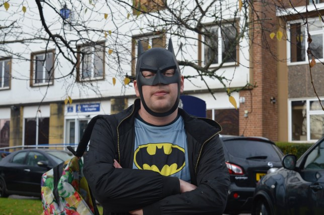 """Scott Rivers dressed as Batman. See SWNS story SWPAEDO; One of Britain's biggest paedophile hunters has vowed to defy a police warning to stop entrapping people online - despite claiming to have brought 21 sex offenders to justice. Activist Scott Rivers, 29, has been posing as a youngster on chat sites for years in a bid to expose sexual predators - and this week submitted his latest dossier to police. He claims to have unmasked several paedophiles, some finding themselves in court. On Monday, he dressed up as Batman to hand in evidence of his latest find ñ an offender he calls """"Mr Shy"""" ñ to a police station in Exeter, Devon."""