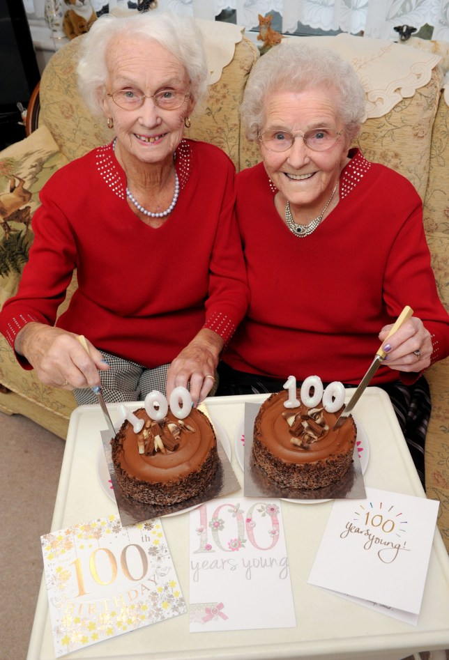 PIC BY KORAY EROL/CATERS NEWS (Pictured: Irene Crump and Phyllis Jones cutting their birthday cakes for their 100th birthday) - These twins have proved theyre quite the sister act after celebrating their 100th birthday. Irene Crump and Phyllis Jones have spent a whole century together after being born 25 minutes apart on November 20 1916 - and even live together in Stourport, Worcs. The twins - who arent identical but look remarkably similar - attended the same school and shared their first job at Steatite Porcelain Products before Irene married farmer Samuel Crump. The duo put their milestone birthday down to hard work and good food. SEE CATERS COPY