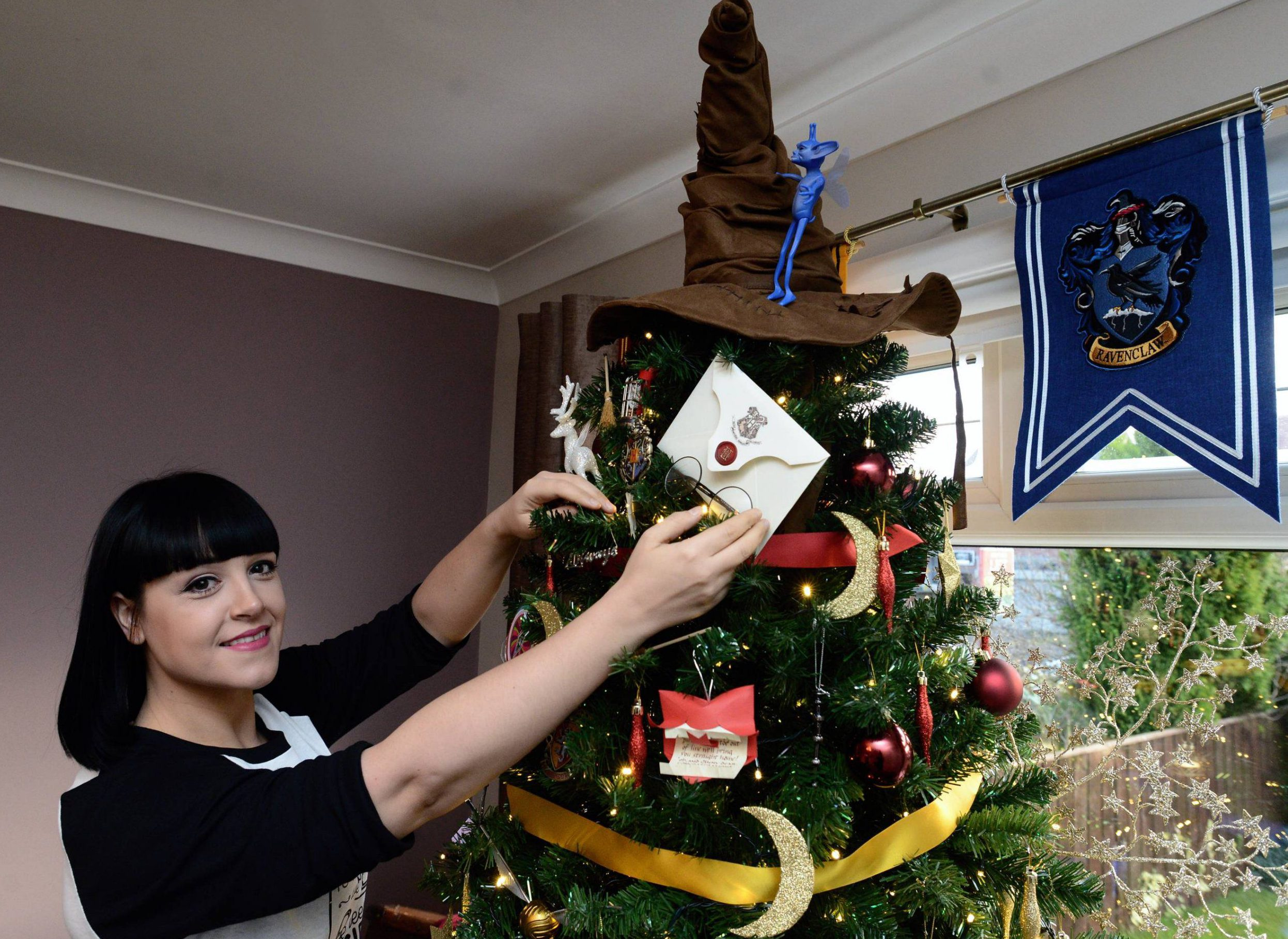 Dated: 25/11/2016. Kathryn Burnett, from Seaham, County Durham, whose Harry Potter inspired Christmas Tree, complete with special ornaments, has caught the eye of creator JK Rowling. See story by North News and Pictures ...