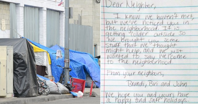 Couple Writes Heartwarming Letter To Homeless Man Living In Tent (Facebook/Love What Matters