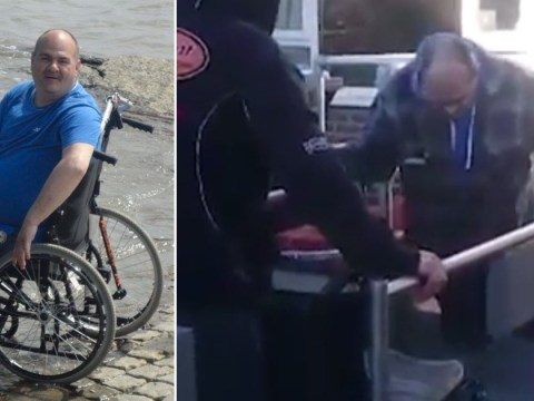 Disabled man forced to drag himself down steps after lift breaks