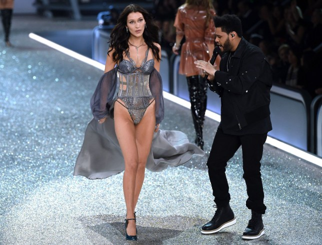 Mandatory Credit: Photo by David Fisher/REX/Shutterstock (7529849ew) Bella Hadid and The Weeknd performing on the catwalk Victoria's Secret Fashion Show, Runway, Grand Palais, Paris, France - 30 Nov 2016