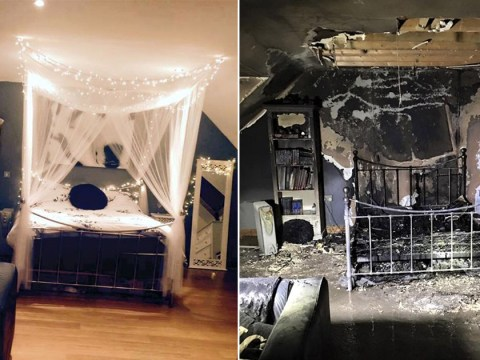 Teenager's bedroom goes up in flames after leaving phone to charge overnight