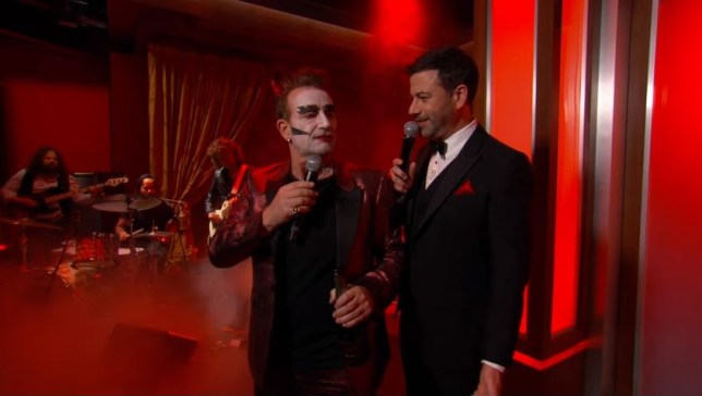 Bono was back in his Devil alter-ego on Jimmy Kimmel (Picture: Jimmy Kimmel)