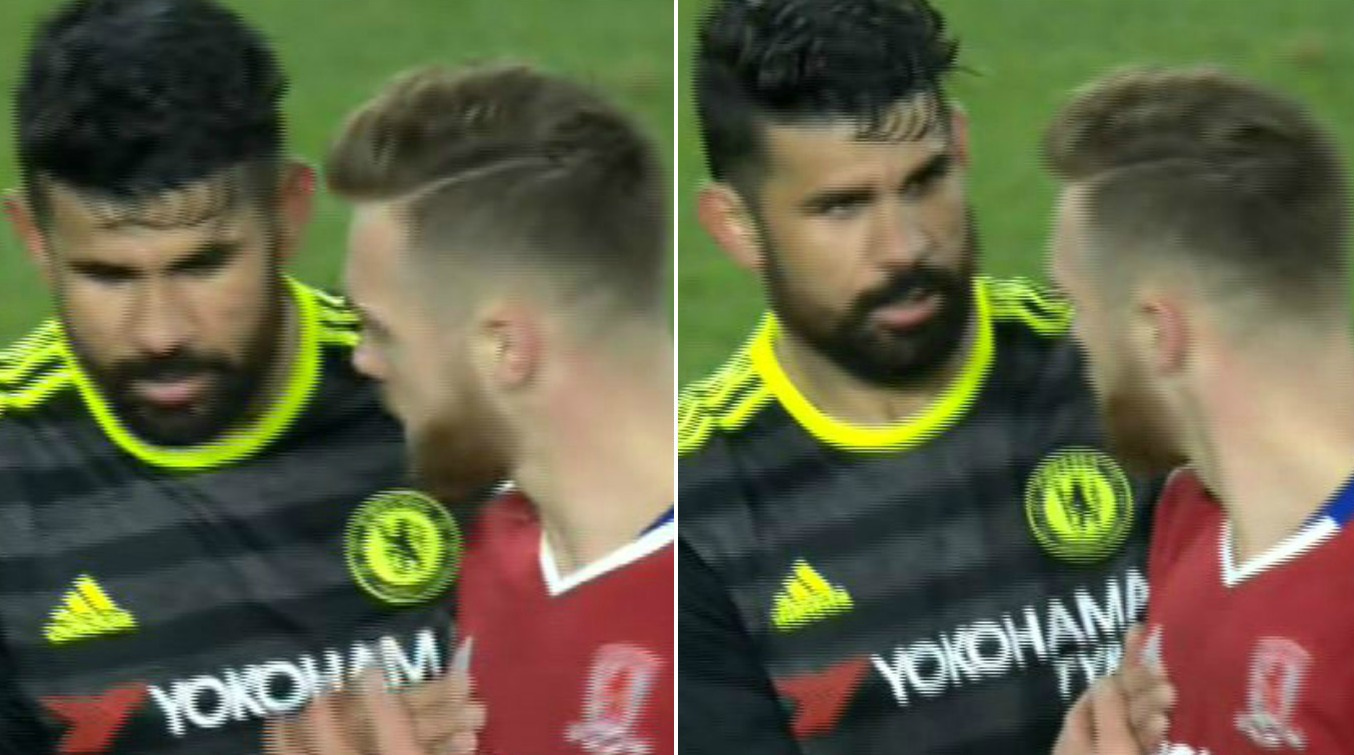 Arsenal fans lose it with Calum Chambers as defender asks for Diego Costa's shirt after Chelsea victory