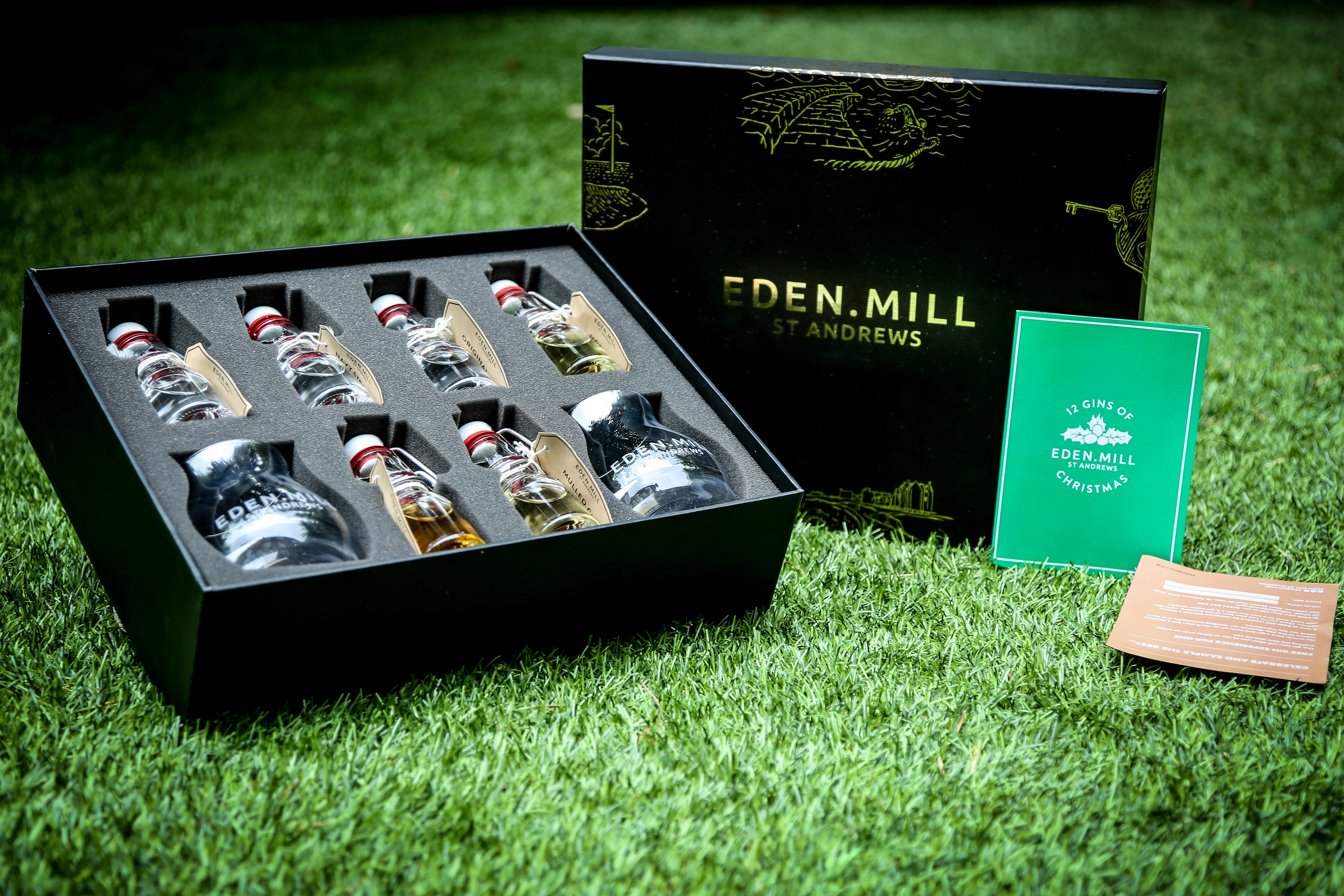 The 12 Gins Of Christmas gift set includes candy cane gin, roast chestnut gin and mulled gin