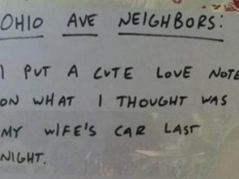 Man leaves love note for wife on wrong car – quickly straightens things out
