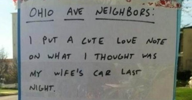 Man puts love note on the wrong car - covers himself quickly#