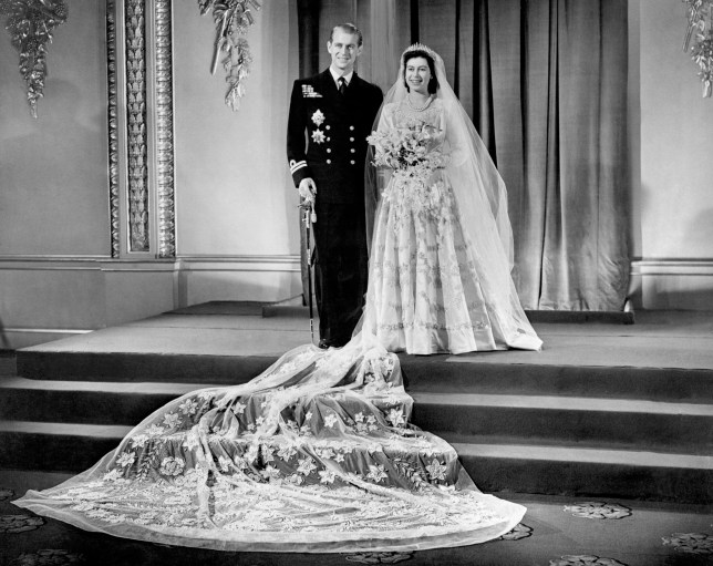 Princess Elizabeth, now Queen Elizabeth II, and Lieutenant Philip Mountbatten, now the Duke of Edinburgh, at Buckingham Palace after their wedding ceremony. PRESS ASSOCIATION Photo. The Queen and Duke of Edinburgh will mark their diamond wedding anniversary with a special service of thanksgiving next week. Retracing their footsteps down the aisle, the royal couple will return to Westminster Abbey, where they married 60 years ago. See PA Story ROYAL Anniversary. Photo credit should read: PA Wire