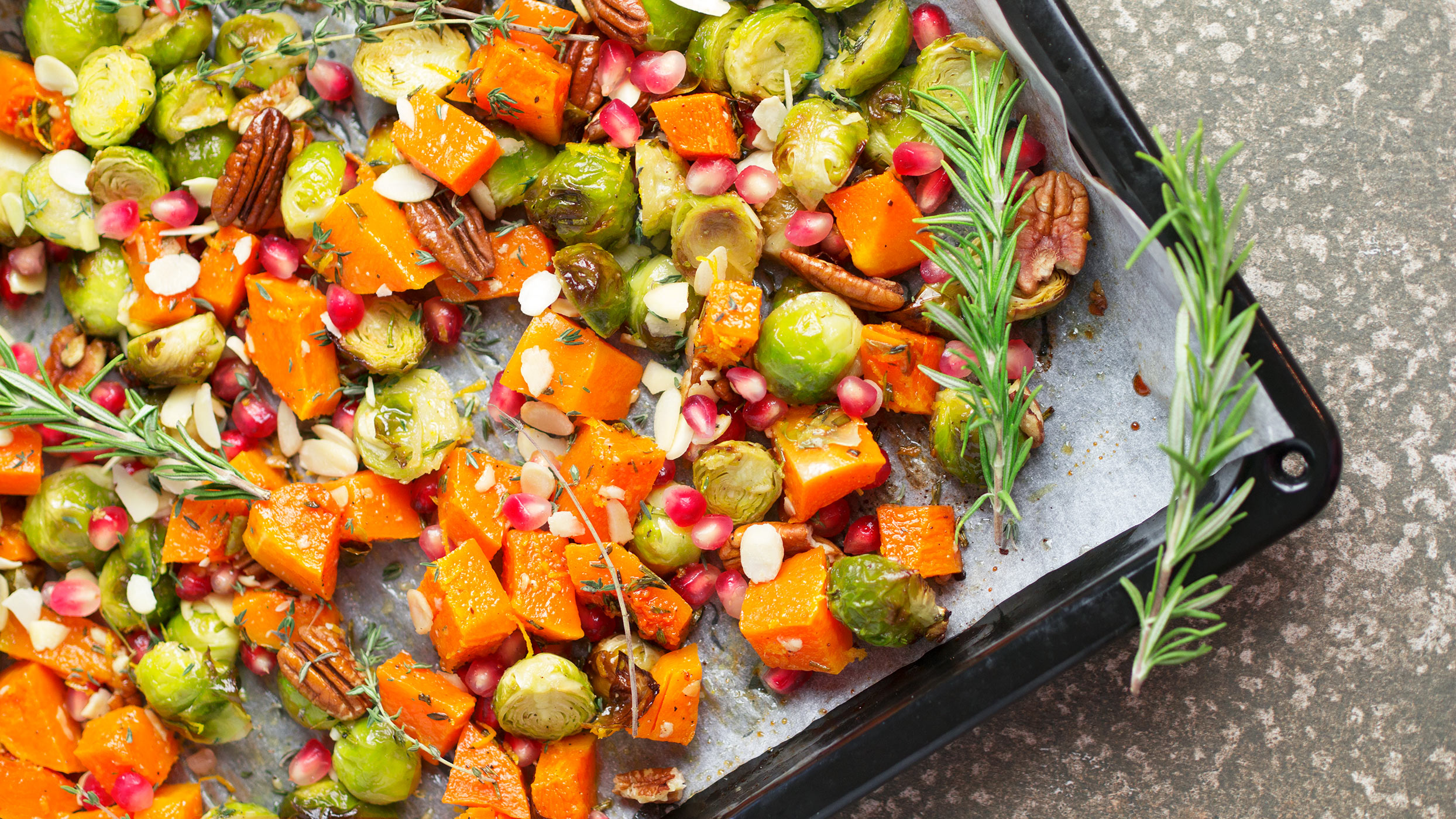 Vegan Christmas recipe: Festive roasted butternut squash and Brussels sprouts