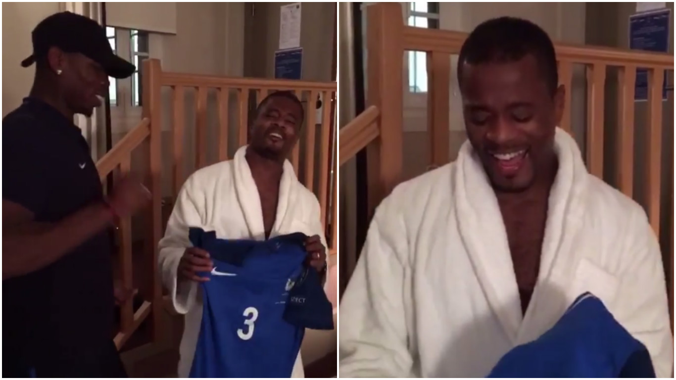 Paul Pogba and Patrice Evra show how much the France shirt means to them