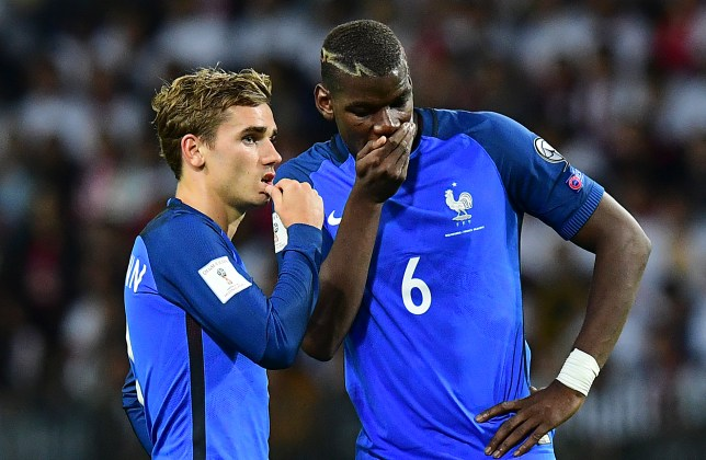 France's forward Antoine Griezmann (L) speaks with France's midfielder Paul Pogba during the FIFA World Cup 2018 qualifying football match Belarus vs France on September 6, 2016 at the Borisov Arena in Borisov.   / AFP / FRANCK FIFE        (Photo credit should read FRANCK FIFE/AFP/Getty Images)