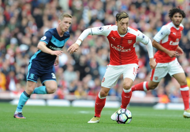 LONDON, ENGLAND - OCTOBER 22: Mesut Ozil of Arsenal during the Premier League match between Arsenal and Middlesbrough at Emirates Stadium on October 22, 2016 in London, England. (Photo by Stuart MacFarlane/Arsenal FC via Getty Images)