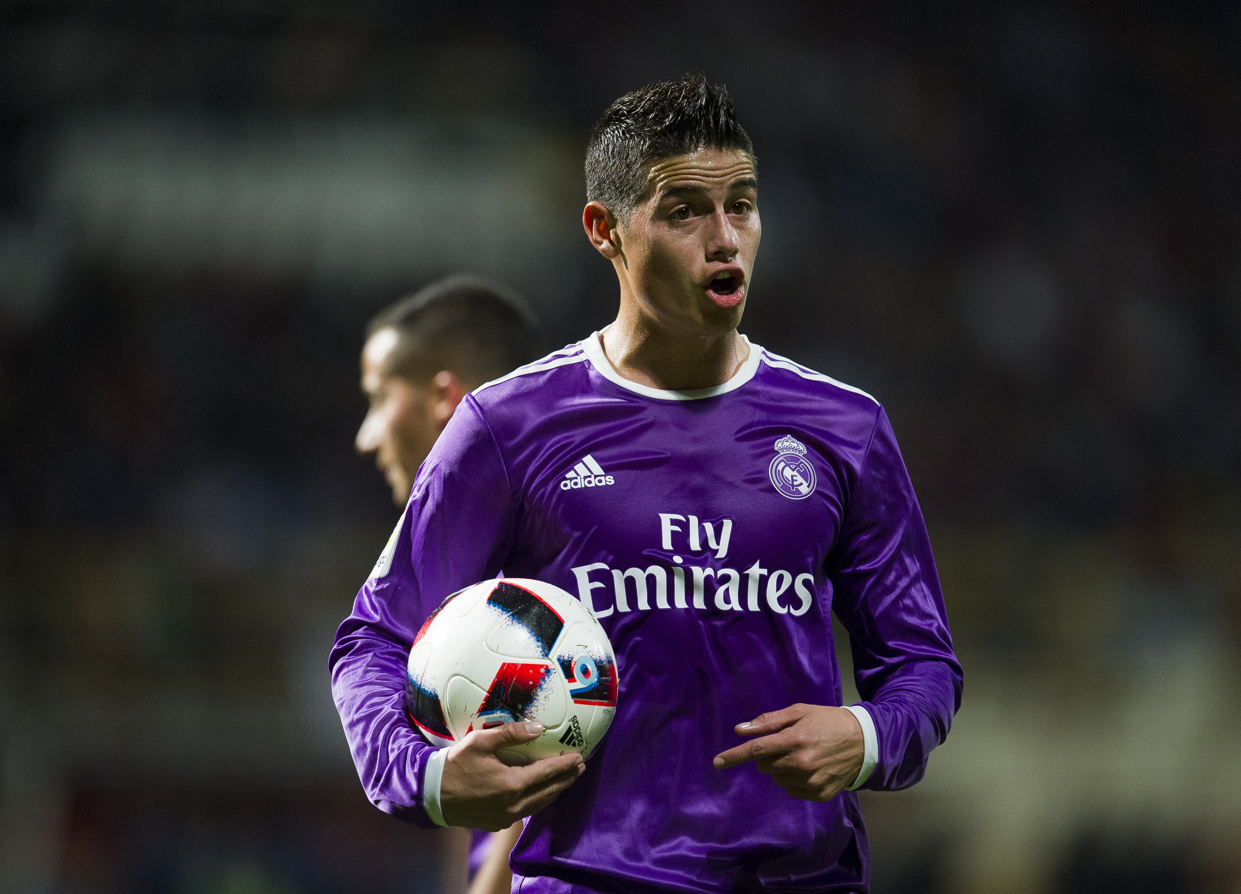 LEON, SPAIN - OCTOBER 26: James Rodriguez of Real Madrid reacts during the Copa del Rey Round of 32 match between Cultural Leonesa and Real Madrid CF at Reino de Leon Stadium on October 26, 2016 in Leon, Spain. (Photo by Juan Manuel Serrano Arce/Getty Images)