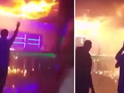 Panic in nightclub after roof sets alight during fire-breathing performance