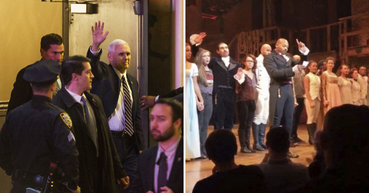Cast of Hamilton give Trump's VP Mike Pence a powerful message from Broadway stage