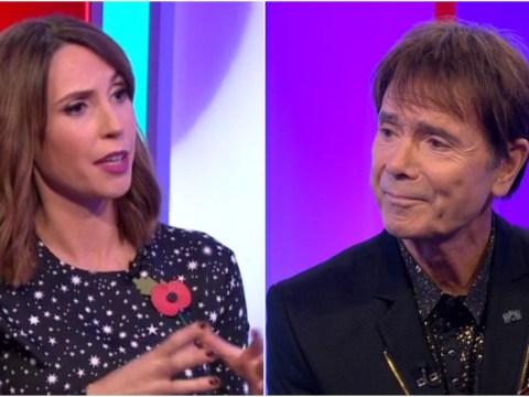 The One Show's Alex Jones asks Cliff Richard why he's on the sofa when he's suing BBC for £1.5 million