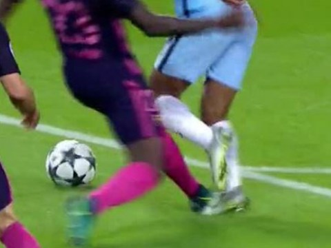 Pictures prove Manchester City should have been given a penalty v Barcelona for Raheem Sterling foul