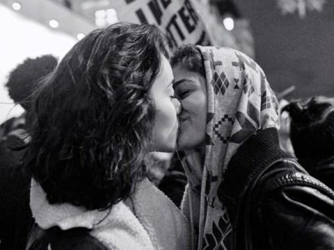 Incredible photo of two women kissing at an anti-Trump protest shows that love still trumps hate