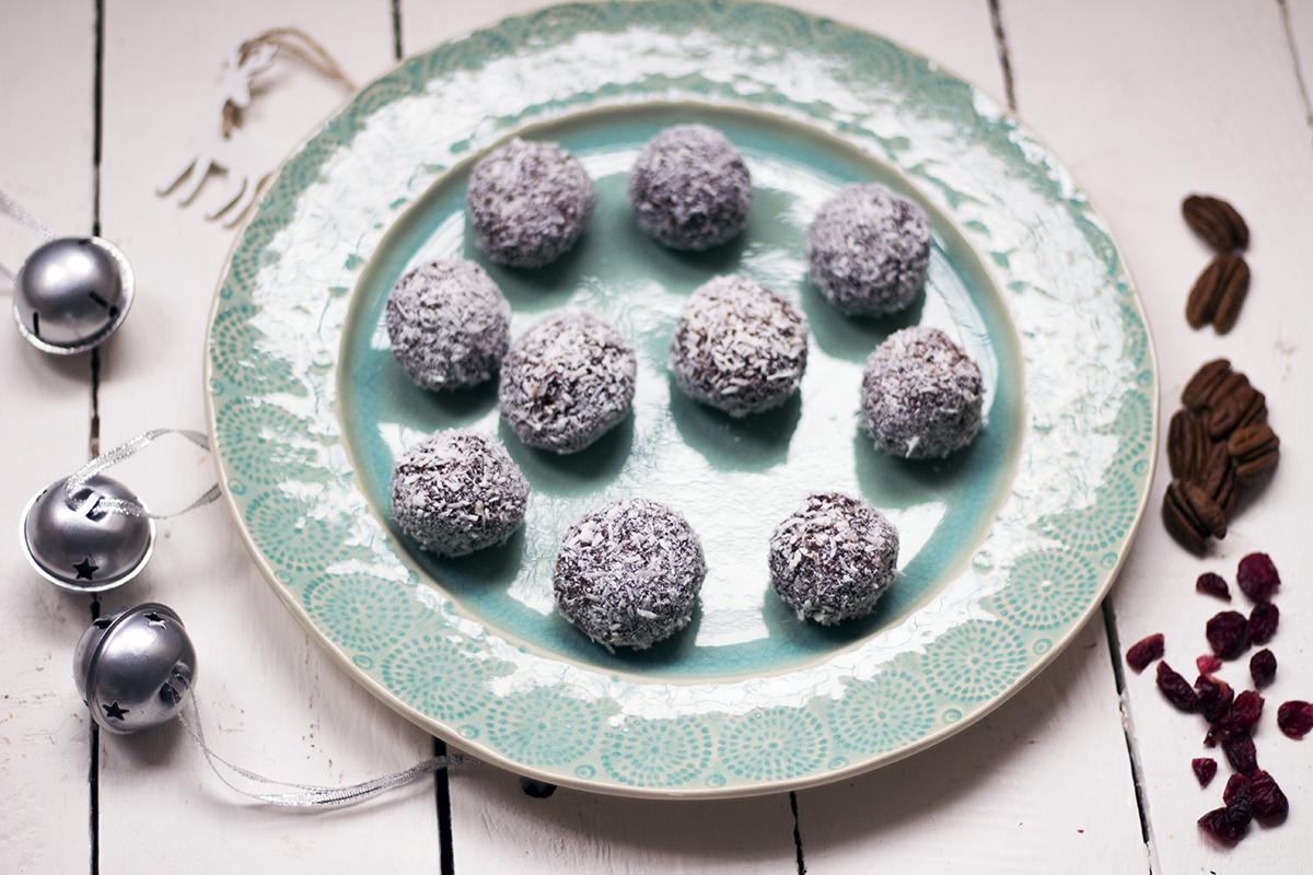 Vegan Christmas recipe video: Raw pecan, cranberry and chocolate snowballs
