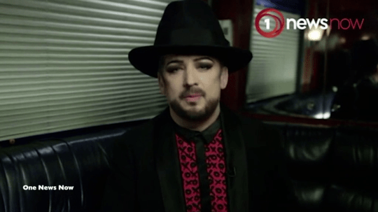 Boy George walked out of the interview (Picture: TV NZ/Seven Sharp)