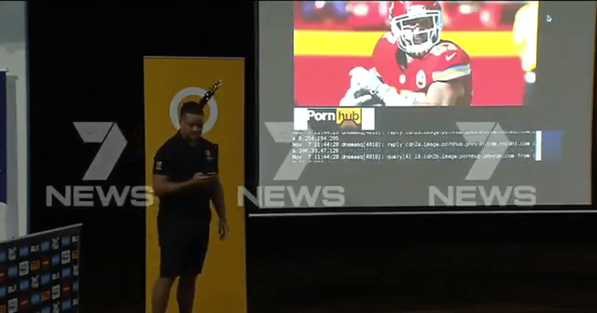 Rugby player Jarryd Hayne accidentally shows porn to students during