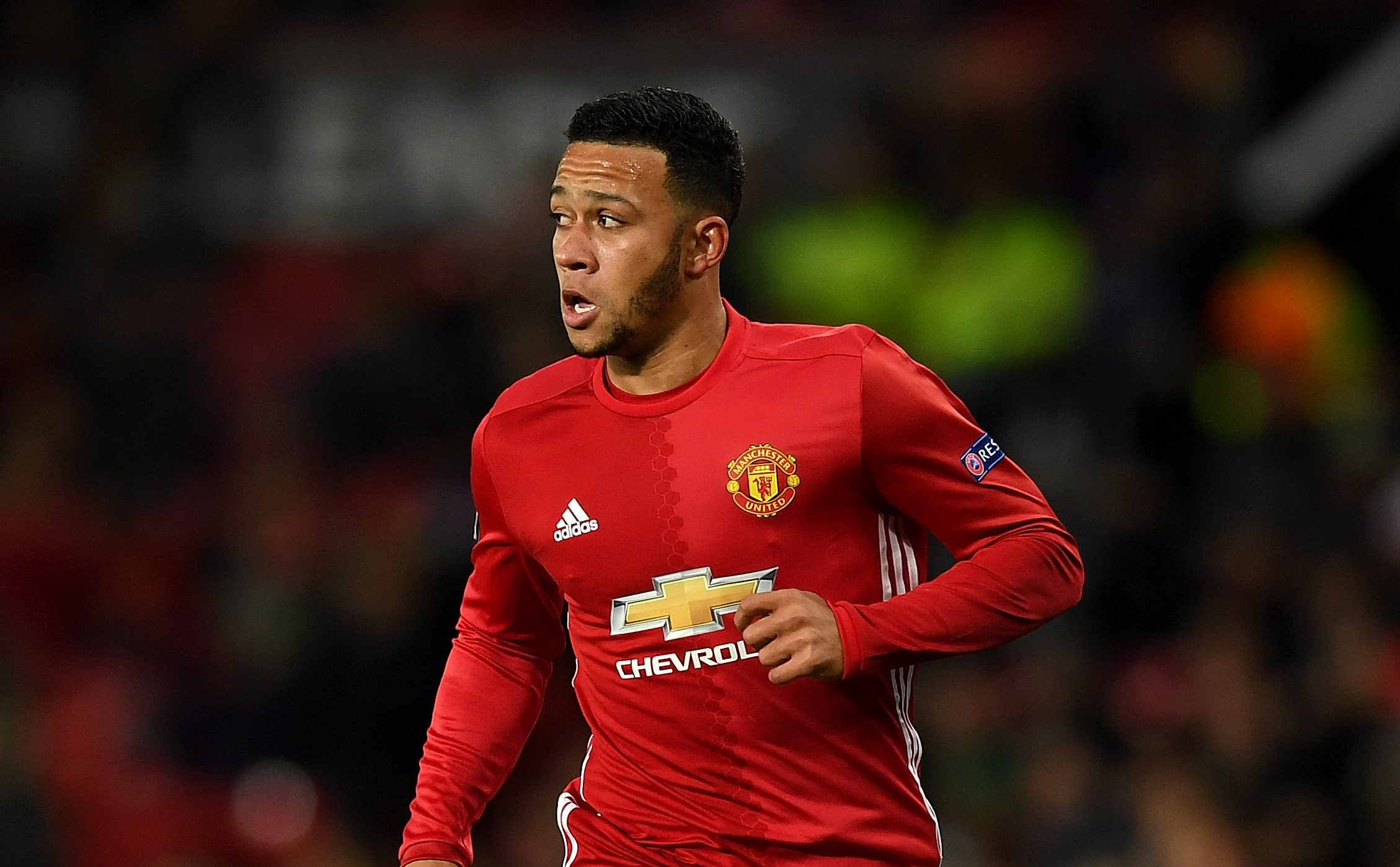 MANCHESTER, ENGLAND - NOVEMBER 24:  Memphis Depay of Manchester United during the UEFA Europa League match between Manchester United FC and Feyenoord at Old Trafford on November 24, 2016 in Manchester, England.  (Photo by Gareth Copley/Getty Images)