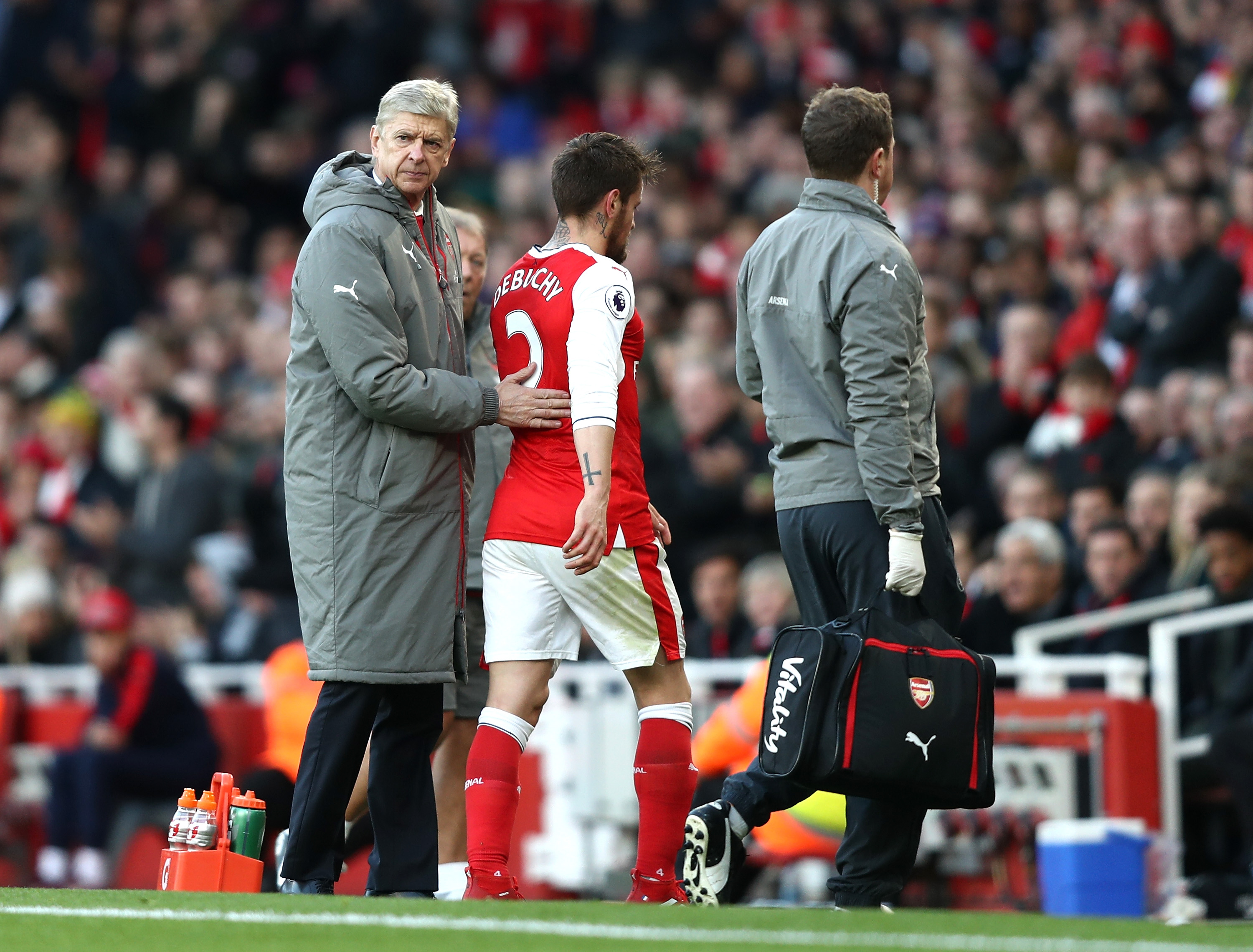 Arsenal defender Mathieu Debuchy ruled out for six weeks with 'severe' hamstring injury, Arsene Wenger confirms