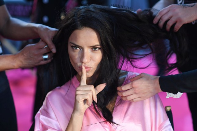 PARIS, FRANCE - NOVEMBER 30: Adriana Lima poses backstage at the annual Victoria's Secret fashion show at Grand Palais on November 30, 2016 in Paris, France. (Photo by Samir Hussein/Samir Hussein/WireImage)