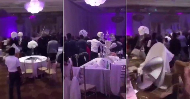 Huge brawl erupts at wedding reception after 'the bride's ex-boyfriend put pictures of her performing a sex act on the tables' Credit: Twitter/Ydot_K