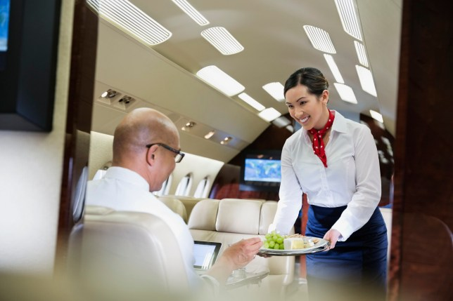 Flight attendant serving food to male passenger in airplane