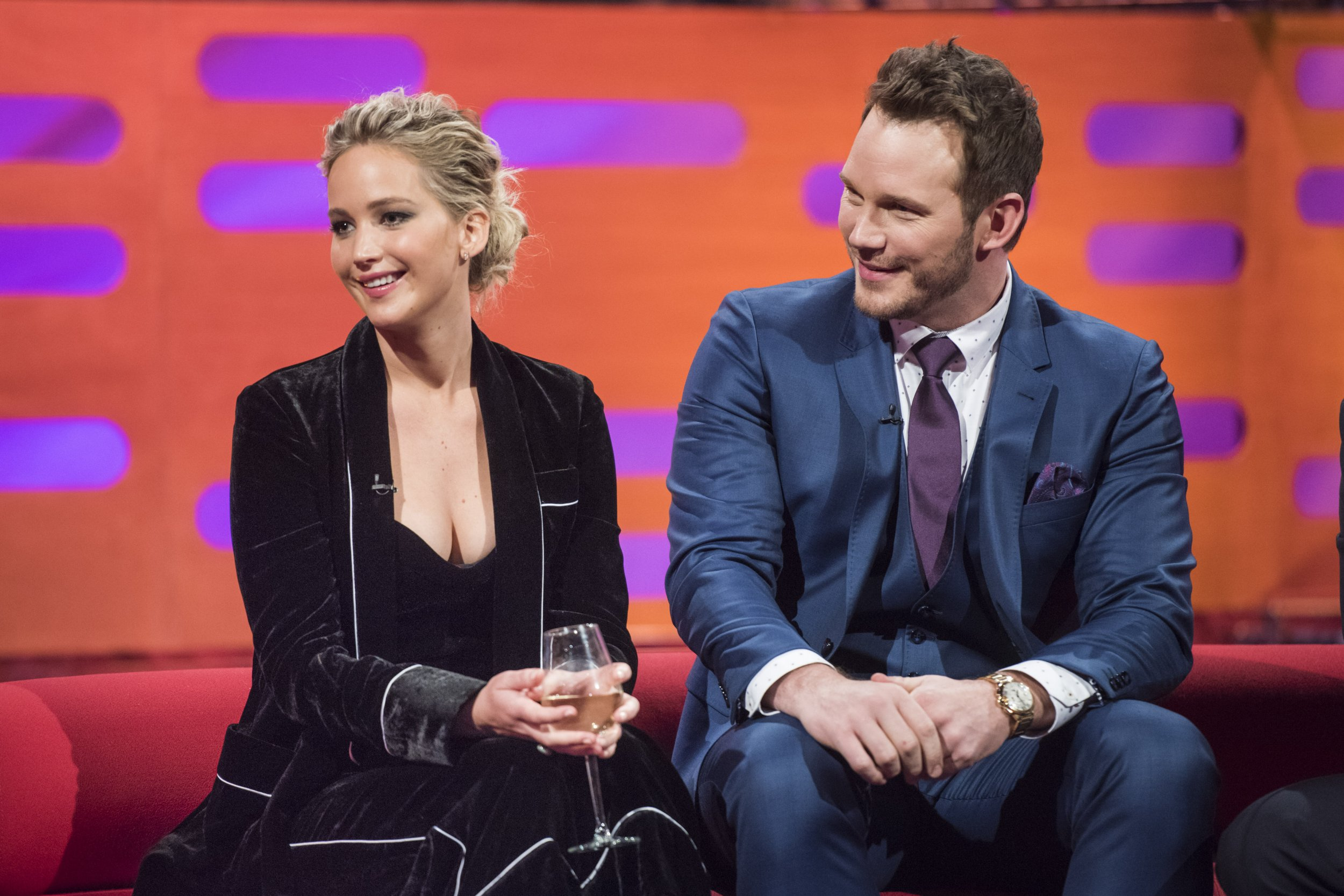 Jennifer Lawrence, Chris Pratt , during the filming of the Graham Norton Show at The London Studios, south London, to be aired on BBC One on Friday evening. PRESS ASSOCIATION Photo. Picture date: Thursday December 1, 2016. Photo credit should read: PA Images on behalf of So TV/PA Wire