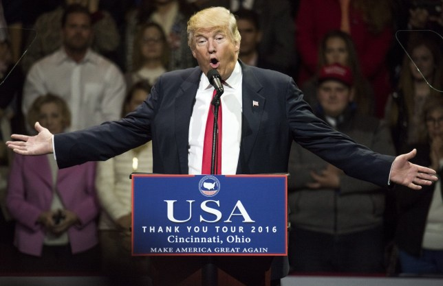 CINCINNATI, OH - DECEMBER 01: President-elect Donald Trump speaks during a stop at U.S. Bank Arena on December 1, 2016 in Cincinnati, Ohio. Trump took time off from selecting the cabinet for his incoming administration to celebrate his victory in the general election. (Photo by Ty Wright/Getty Images)