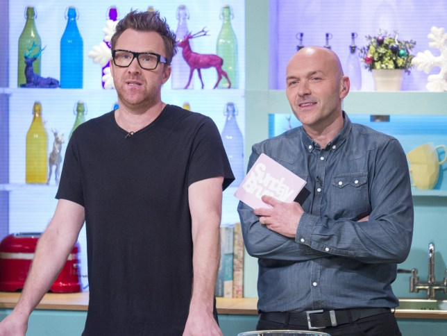 EDITORIAL USE ONLY. NO MERCHANDISING Mandatory Credit: Photo by Steve Meddle/REX/Shutterstock (7542817fw) Jason Byrne and Simon Rimmer 'Sunday Brunch' TV show, London, UK - 04 Dec 2016
