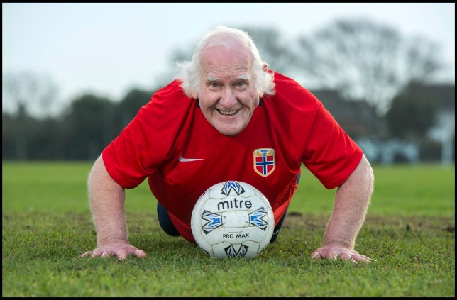 BNPS.co.uk (01202 558833) Pic: TomWren/BNPS Still fit as a fiddle... An 81-year-old man believed to be 'Britain's oldest footballer' has today made an appeal for a club to come and get him after failing to find a team to play for. Sprightly Dickie Borthwick had played every season since the 1940s but has now been sidelined due to a worrying lack of interest in veteran football. The left midfielder says despite dwindling opportunities for older players he isn't hanging up his boots just yet. Dickie, who thinks he has scored aout 400 goals and has never been booked in a 1,600 match career, would like to play once every two weeks.