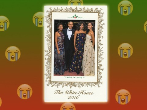 Everyone's falling apart at the Obamas' last ever Christmas card