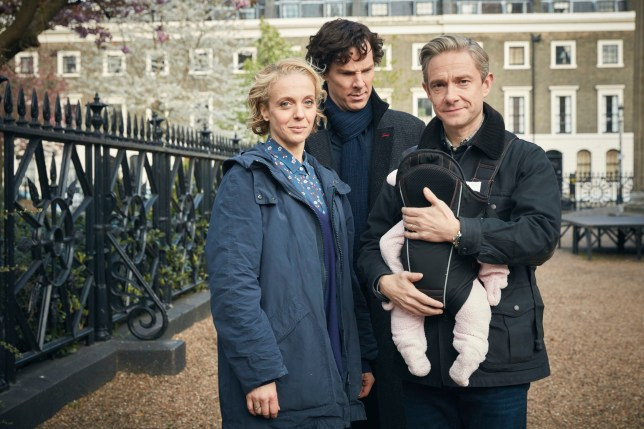 WARNING: Embargoed for publication until 00:00:01 on 24/11/2016 - Programme Name: Sherlock - TX: n/a - Episode: Sherlock S4 - Ep1 (No. 1) - Picture Shows: **STRICTLY EMBARGOED UNTIL 24TH NOVEMBER, 2016** Mary Watson (AMANDA ABBINGTON), Sherlock Holmes (BENEDICT CUMBERBATCH), Dr John Watson (MARTIN FREEMAN) - (C) Hartswood Films - Photographer: Robert Viglasky