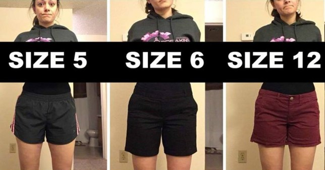 This woman is wearing differently sized pants to prove something important about clothing and body image (Facebook/Deena Shoemaker) https://www.facebook.com/photo.php?fbid=10211468733300821&set=a.3222576730133.158457.1437902569&type=3&theater