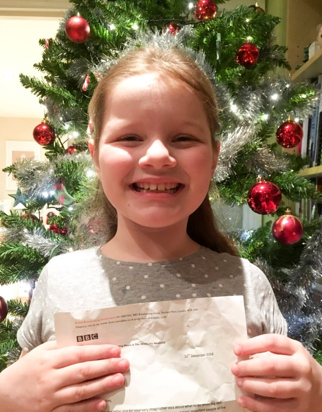 PIC FROM MERCURY PRESS (PICTURED: PHOEBE HANSON, EIGHT, FROM GREENWICH, LONDON WHO RECEIVED THE HEARTWARMING LETTER FROM BBC RADIO 4 EDITOR ROGER SAWYER REGARDING THE GIRL'S OFFER TO DO THE BIG BEN 'DONGS' FOR THE RADIO STATION, PICTURED HOLDING THE LETTER SHE RECEIVED FROM BBC RADIO 4 EDITOR ROGER SAWYER ) A letter sent by a BBC boss to a little girl who offered to do the ëbongsí on the radio when Big Ben falls silent for repairs has gone viral. When eight-year-old Phoebe Hanson heard a presenter on Radio 4ís 6pm news discussing how the iconic clock will stop chiming in 2017, she panicked about how they would introduce the show. Determined to take action, Phoebe, from Greenwich, London, pestered mum Karina Hanson, 47, and dad Jon Hanson, 48, daily for almost two weeks asking to write a letter to the BBC. Her parents finally gave in and posted a letter from Phoebe ñ in which she offered to provide the ëbongsí played live before the evening news broadcast ñ to the corporationís bosses. SEE MERCURY COPY