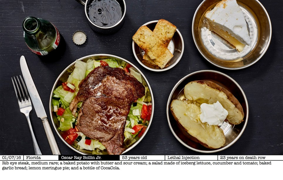Photographer recreates the last meal chosen by every death row prisoner who was executed in 2016 (credit: Henry Hargreaves)