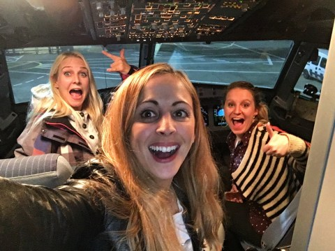 Women enjoy poshest flight ever after discovering they're the only three passengers on board