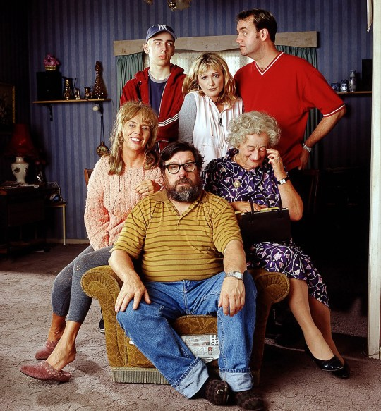 For use in UK, Ireland or Benelux countries only  Undated BBC handout photo of  BBC One's The Royle Family, clockwise from bottom Jim (Ricky Tomlinson), Barbara (Sue Johnston), Anthony (Ralph Little), Denise (Caroline Aherne), Dave (Craig Cash) and Nana (Liz Smith) who has died aged 95, a spokeswoman for her family has said. PRESS ASSOCIATION Photo. Issue date: Monday December 26, 2016. See PA story DEATH Smith. Photo credit should read: Matt Squires/BBC/PA Wire NOTE TO EDITORS: Not for use more than 21 days after issue. You may use this picture without charge only for the purpose of publicising or reporting on current BBC programming, personnel or other BBC output or activity within 21 days of issue. Any use after that time MUST be cleared through BBC Picture Publicity. Please credit the image to the BBC and any named photographer or independent programme maker, as described in the caption.