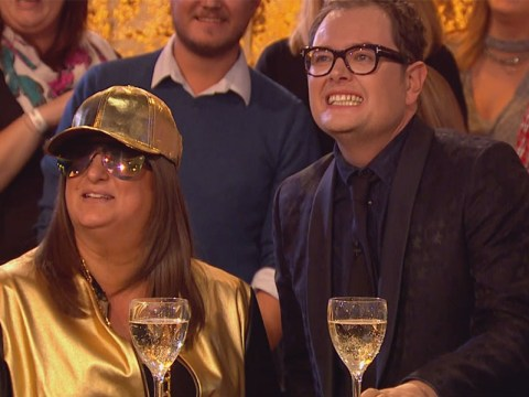 Honey G finally takes those shades off on telly as she swaps glasses with Alan Carr