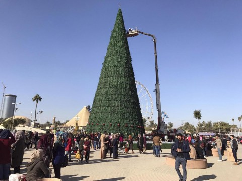 Muslim man builds 85ft Christmas tree in Baghdad to show Christians they are welcome