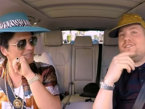 Bruno Mars brings a spot of Uptown Funk to Carpool Karaoke as he and James don matching outfits